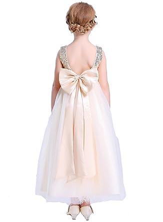 cda2bb27013 Amazon.com  Bow Dream Lovely Sequins Flower Girl s Dress  Clothing