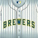 "Sports and Tailgating MLB Party Milwaukee Brewers Luncheon Napkins Tableware, Paper, 5"" x 5"", Pack of 36"