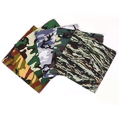 b2cc25f372d Freessom Lot de 5 Bandana Cheveux Homme Femme 100% Coton Motif Camouflage  Militaire Vintage Original