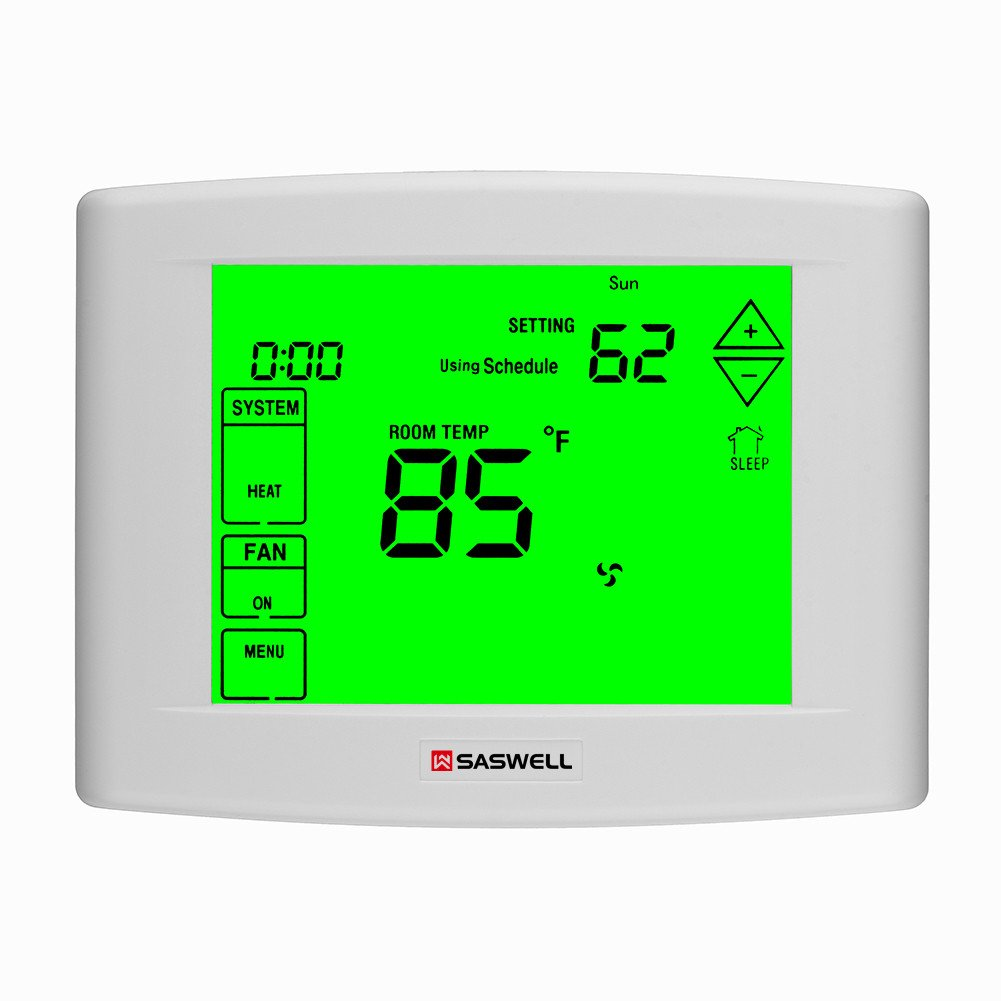 7 days Programmable Touch Screen Thermostat for Home, With Large Digital Display,Easy to Read , Dual powered,3 Heat 2 Cool,Saswell SAS6000UTK-7
