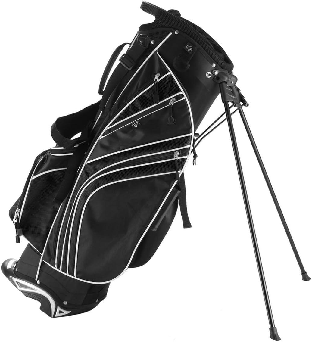 Tangkula Golf Stand Bag w/6 Way Divider Carry Organizer Pockets Storage Golf Travel Bag(Black) : Sports & Outdoors