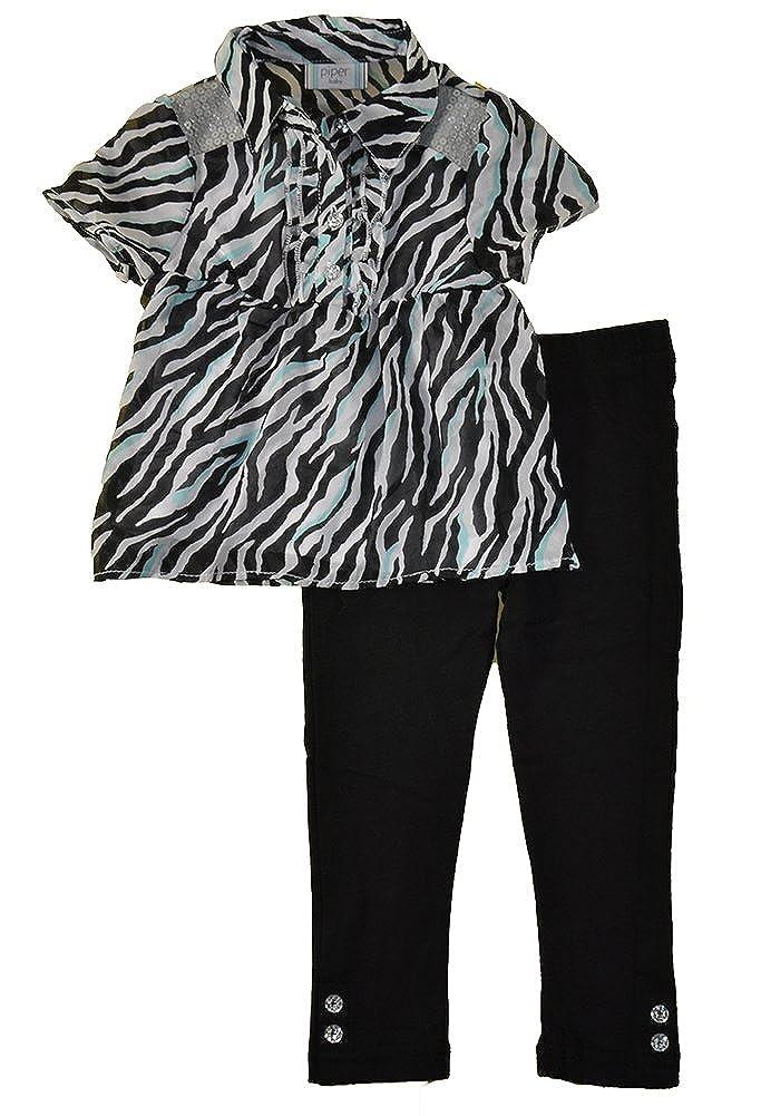 Piper Little Girls L//S Zebra Print Top 2pc Legging Set