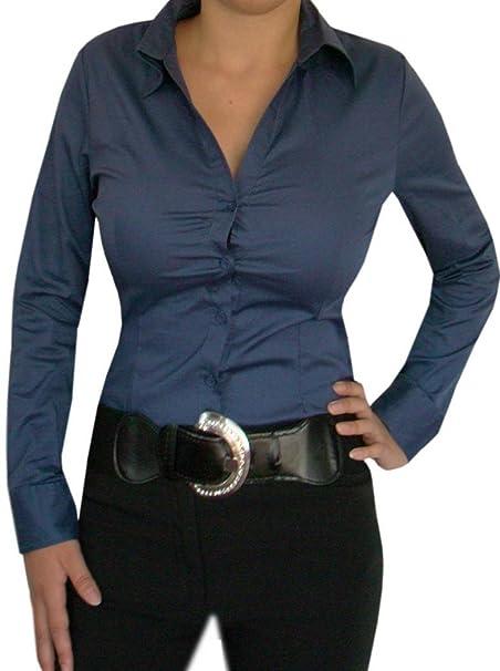 Diva-Mode - Body estilo blusa elegante, cuello en V azul 36
