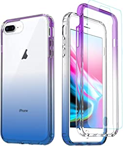 iPhone 8 Plus Clear Case,iPhone 7/6 Plus Full Body Case,[Tempered Glass Screen Protector] Full Body Protective Shockproof Hard Plastic & Soft TPU Case for iPhone 8/7 Plus Blue & Purple