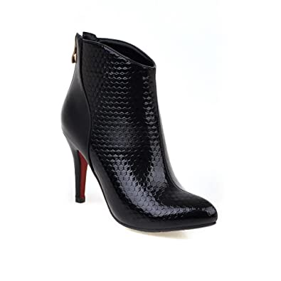 Women's Zipper Pointed Closed Toe High Heels Low Top Boots