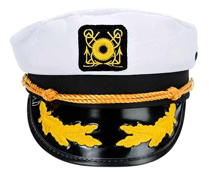 Amazon.com  VWH Adult Yacht Captain Hat Costume Accessory One size  Clothing e2cafdd1f78b