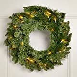 "Nest & Noel 24"" Swiss Pine Battery Operated LED Christmas Wreath w/ Timer & Twinkle"
