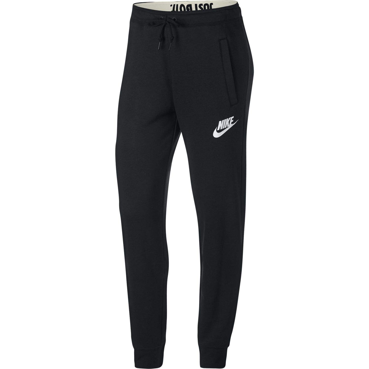 NIKE Women's Rally Jogger Pants (Black/Black/White, Small)