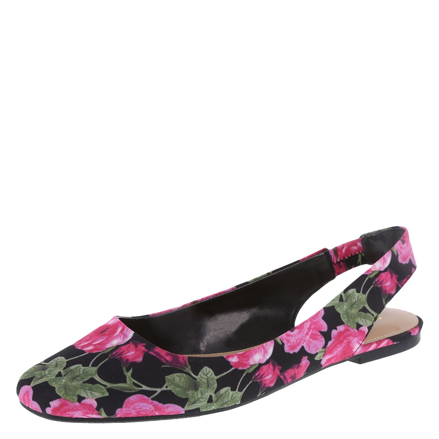 fca9f4f3152 Christian Siriano for Payless Women s Black Floral Fabric Bette Slingback  Flat 9.5 Wide