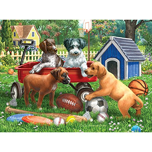 Bits and Pieces - 1000 Piece Jigsaw Puzzle for Adults - Sporty Pup Pals - 1000 pc Puppies Playing Sports Jigsaw by Artist Liz Goodrick-Dillon