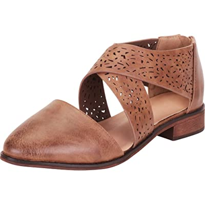 Cambridge Select Women's Pointed Toe Crisscross Laser Cutout Block Heel Flat | Flats