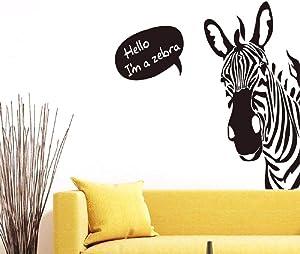 BIBITIME Saying Hello Black White Zebra Wall Stickers Nursery Bedroom Vinyl Decal Home Cartoon Art Mural Kids Room Decor