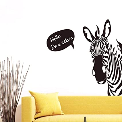 Amazon Com Bibitime Saying Hello Black White Zebra Wall Stickers