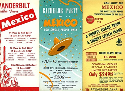 Postcard Vintage Airline - 3 Mexico Tour Brochures 1958 Bachelor Party Rail and American Airlines Air Tours