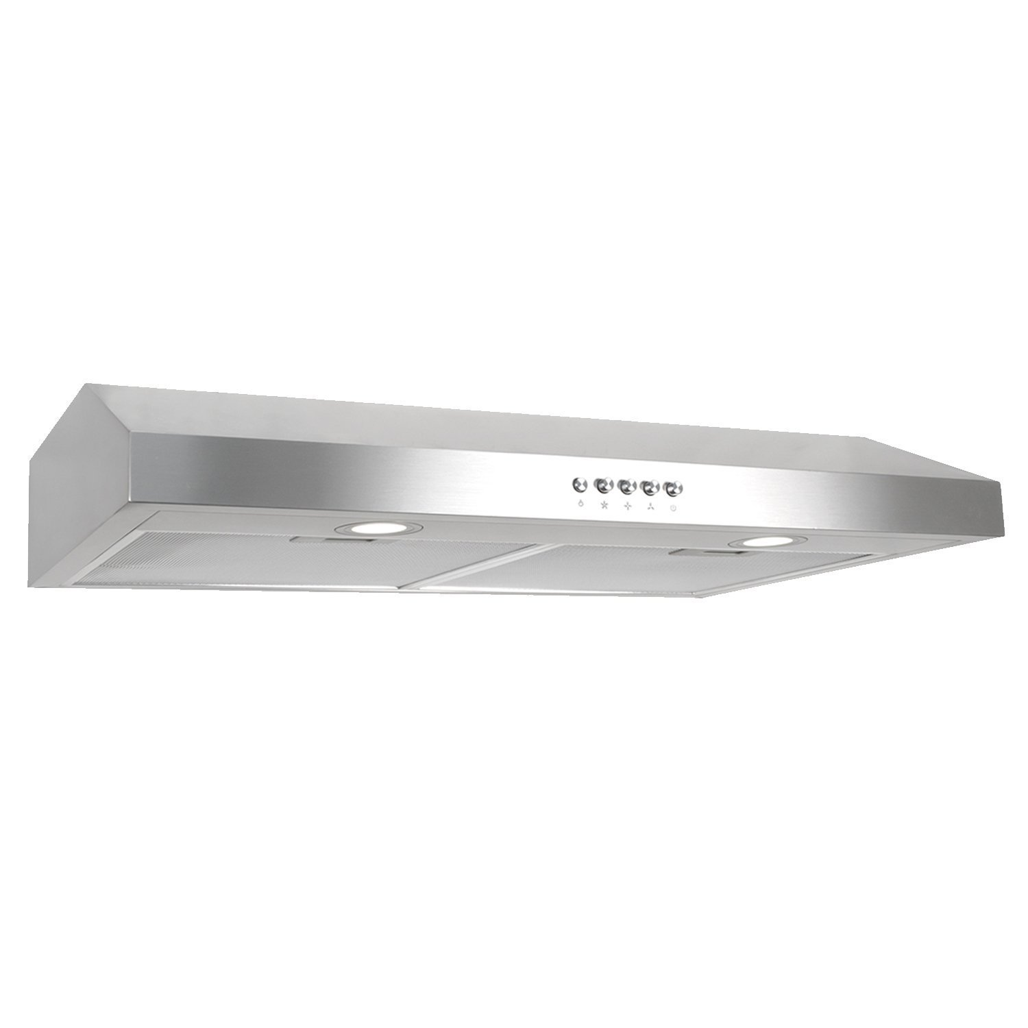 Cosmo 30 in. 250 CFM Ducted Under Cabinet Range Hood with Push Button Control Panel, Kitchen Vent Cooking Fan Range Hood with Aluminum Filters and LED Lighting COS-5U30