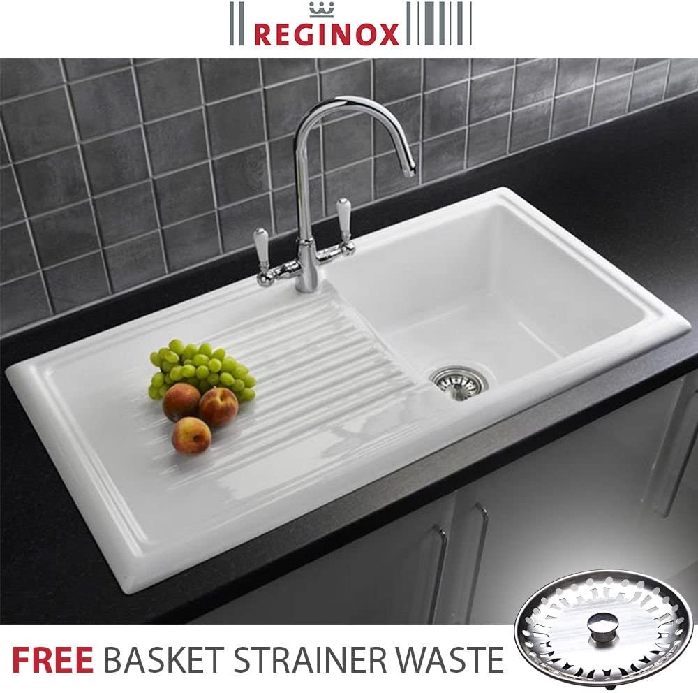 Reginox RL304CW 1.0 Bowl White Ceramic Reversible Kitchen Sink & Waste