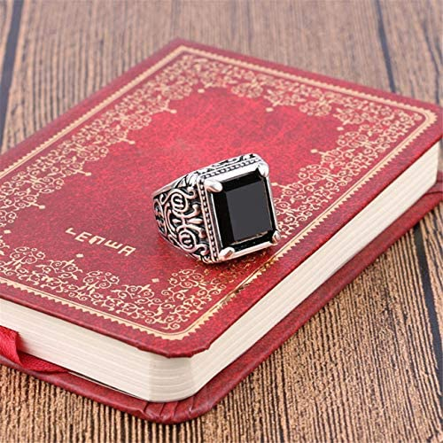ZALING Hommes Vintage Carr/é Grand Cristal Pierre Couronne Bague De Mariage Bague Or Agate Rouge Taille 54.4