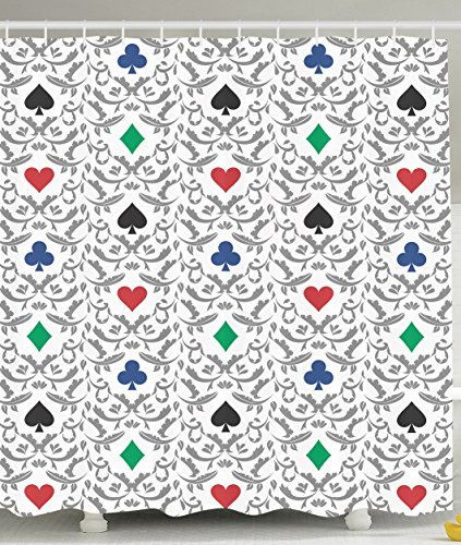 Casino Decorations Geometric Shower Curtain Ornaments Gambling Cards Theme Funny Decoration for Bohemian Bathroom Las Vegas Lover Gambling Fun Design Red Green Blue Gray Baroque (Casino Ornaments)