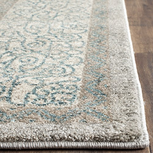 Safavieh Sofia Collection SOF365A Vintage Light Grey and Blue Center Medallion Distressed Square Area Rug (5'1 Square)