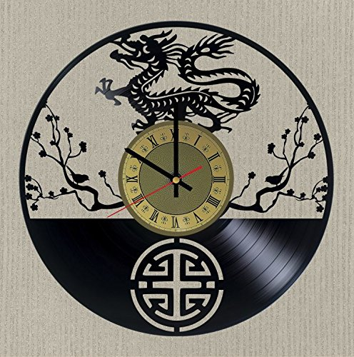 Dragon 龍形傳說生物 Chinese Firewall Vinyl Record Wall Clock Dragon Clock Gift idea for Birthday, Christmas, Women, Men, Friends, Girlfriend Boyfriend and Teens - Living Kids Room Nursery