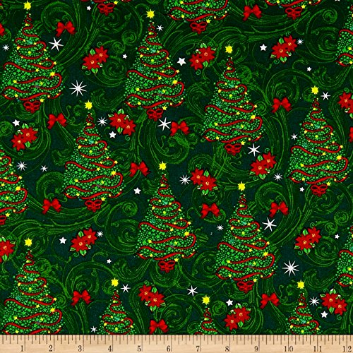 Cotton Print Quilting Fabric - Santee Print Works Cheer Christmas Trees Green Fabric The Yard
