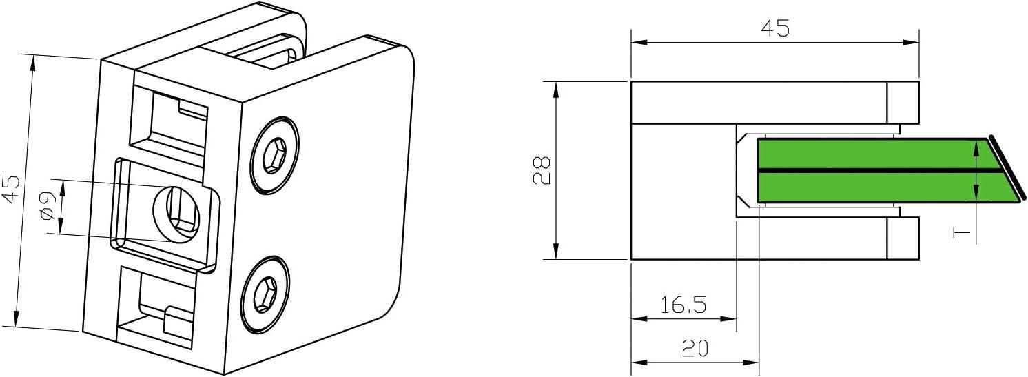 Anschluss: /Ø42,4mm Glasst/ärke: 8mm Glashalter aus Edelstahl V2A massiv f/ür Vierkantrohr oder an /Ø42,4mm eckig