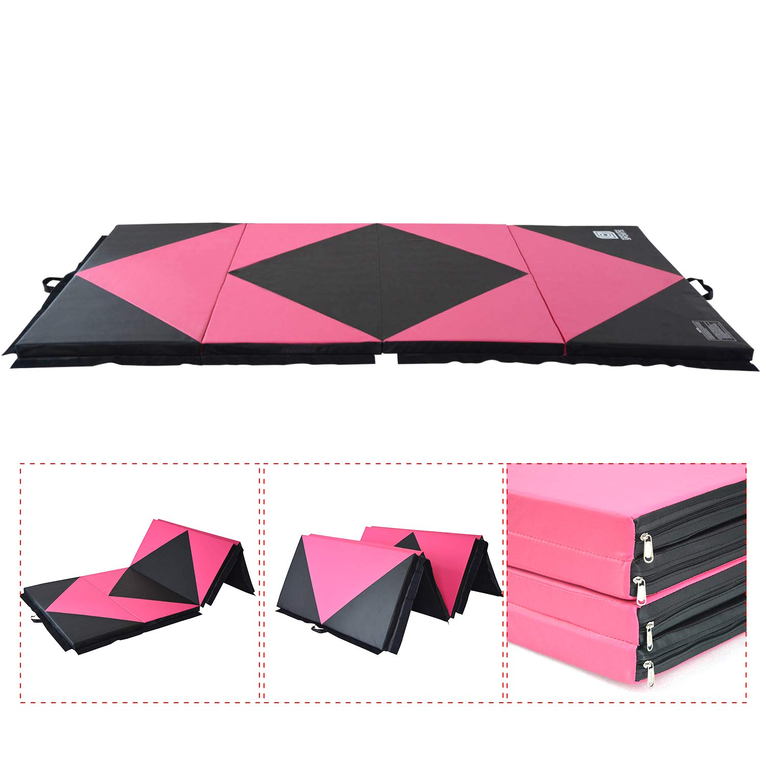 Modern-Depo Gymnastics Mat 4 Panels Folding 4'X10'X2'' With Handle, Hook Loop, Waterproof Cover, 100% EPE Core ( Pink and Black )