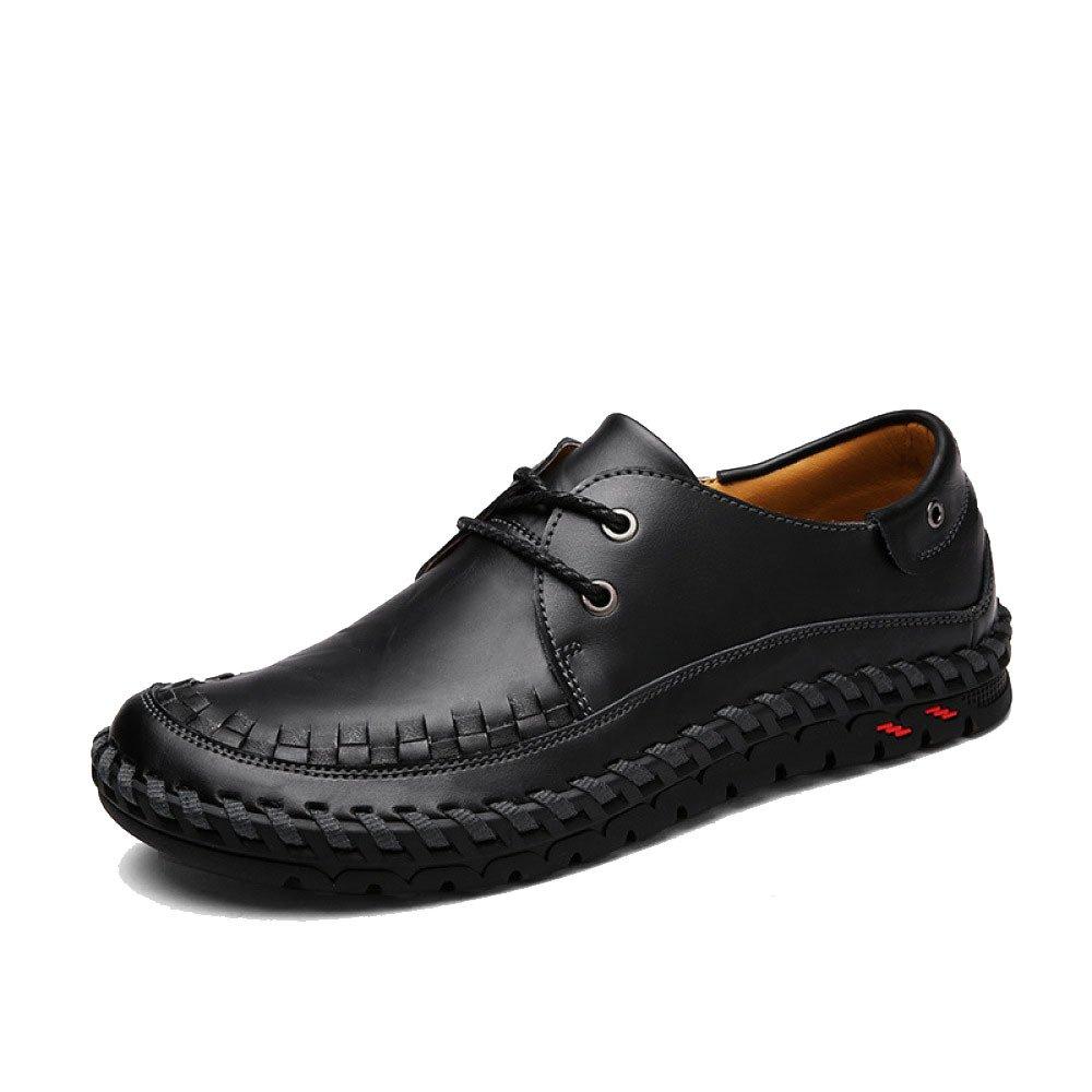 Hombres Casual Transpirable Negocios Moda Juventud Cordones Zapatos De Cuero 41 EU Black