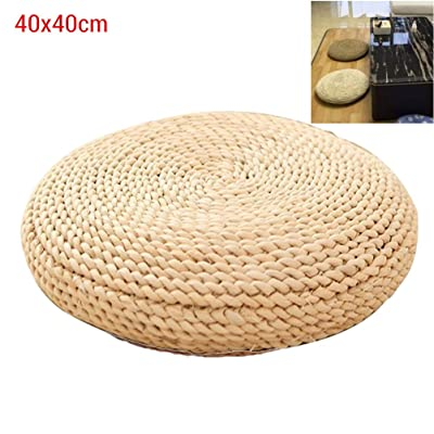 Floor Cushion Tatami Floor Cushion seat Cushion Round Straw Cushion for Home Patio Balcony Tables Yoga Meditation Cushion Silk Cushion Floor mat: Home & Kitchen