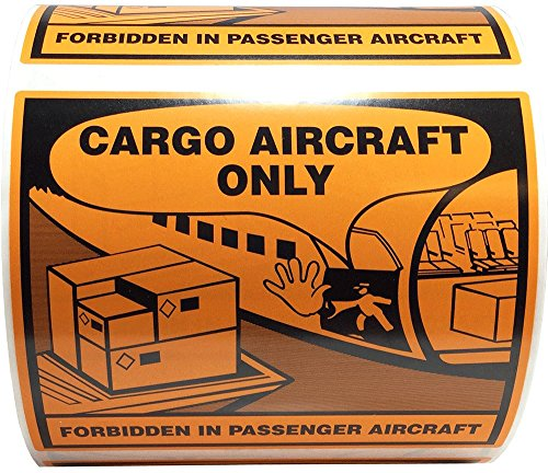 Cargo Aircraft Only Warning Labels 4 x 4 3/4 Inch 500 Adhesive Stickers
