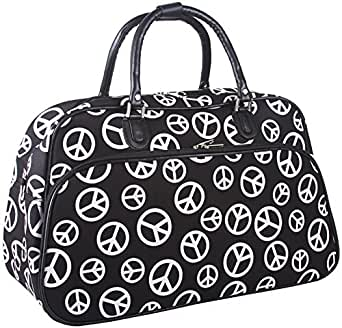 Sturdy! Hard Canvas Dome Duffle Bag Black White Peace Signs Print Great for Sports Dance or Travel
