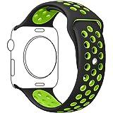 METEQI バンド Compatible For Apple Watch バンド, シリカゲルバンド スポーツシリコンストラップリストバンド交換バンド柔らか運動型 M/L Series 4/3/2/1 (42MM/44MM, 黒/緑)