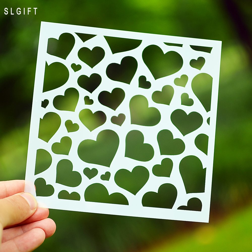 DIY Painting Stencil for Scrapbooking Cardmaking Cake,Brick (Heart) by SLGIFT (Image #2)