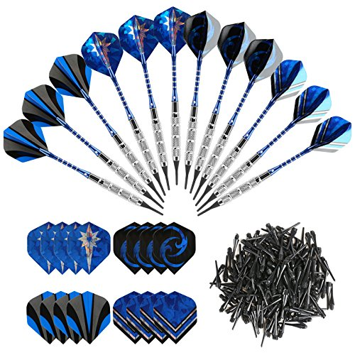 GWHOLE 18g Soft Dart with 16 Dart Flights and 200 Dart Soft Tip Points for Electronic Dartboard, Set of 12 (Plastic Tip)