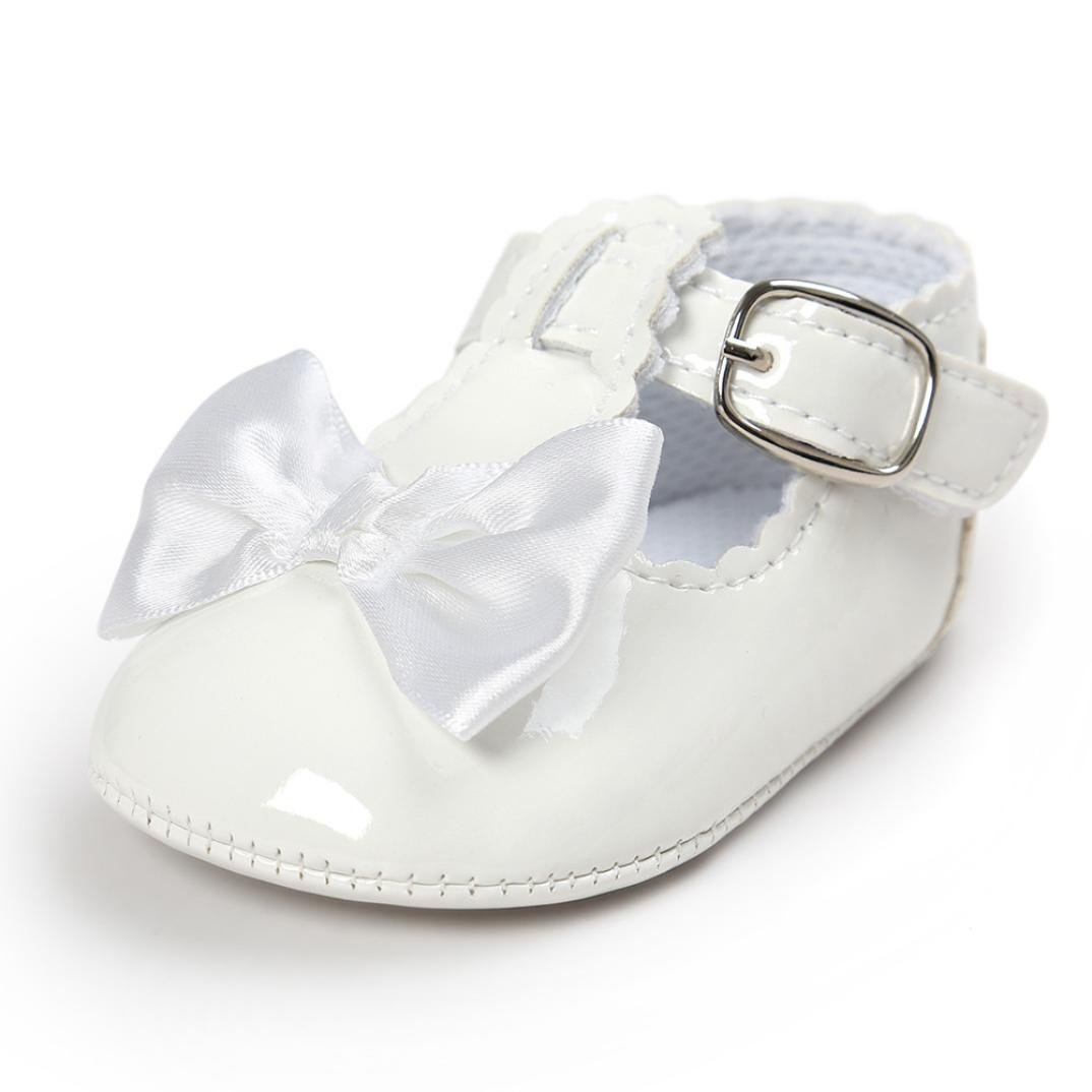 8798d559716e4 Lanhui Baby Bowknot Princess Anti-Slip Soft Sole Shoes Toddler Sneakers  Casual (White, 12-18Months)