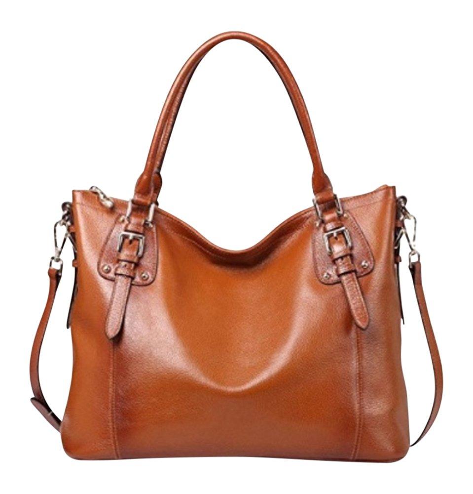 By Olivia - Women's Vintage Soft Genuine Leather Tote or Large Shoulder Bag with Outside Side Zipper Pocket by Olivia (Image #1)