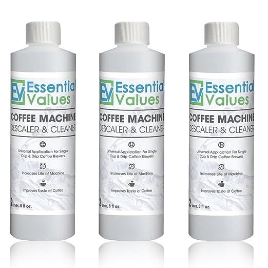 Essential Values Descalcificador de Café para Delonghi, Keurig, Saeco, Bosch, Tossimo, Nespresso (Cada cafetera & una máquina de espresso) 3 paquetes ...