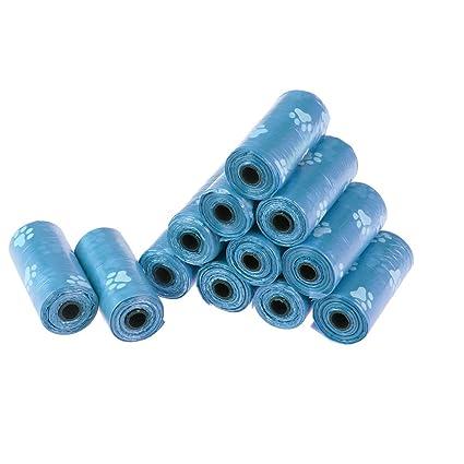 UEETEK - Bolsas de basura para perro, 180 unidades, sin perfume, biodegradables, 12 rollos, color azul