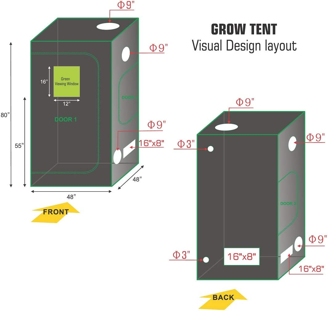 TopoLite 48 x48 x80 Grow Tent Dark Room Reflective Mylar Indoor Garden Growing Room Hydroponic System w Viewing Window