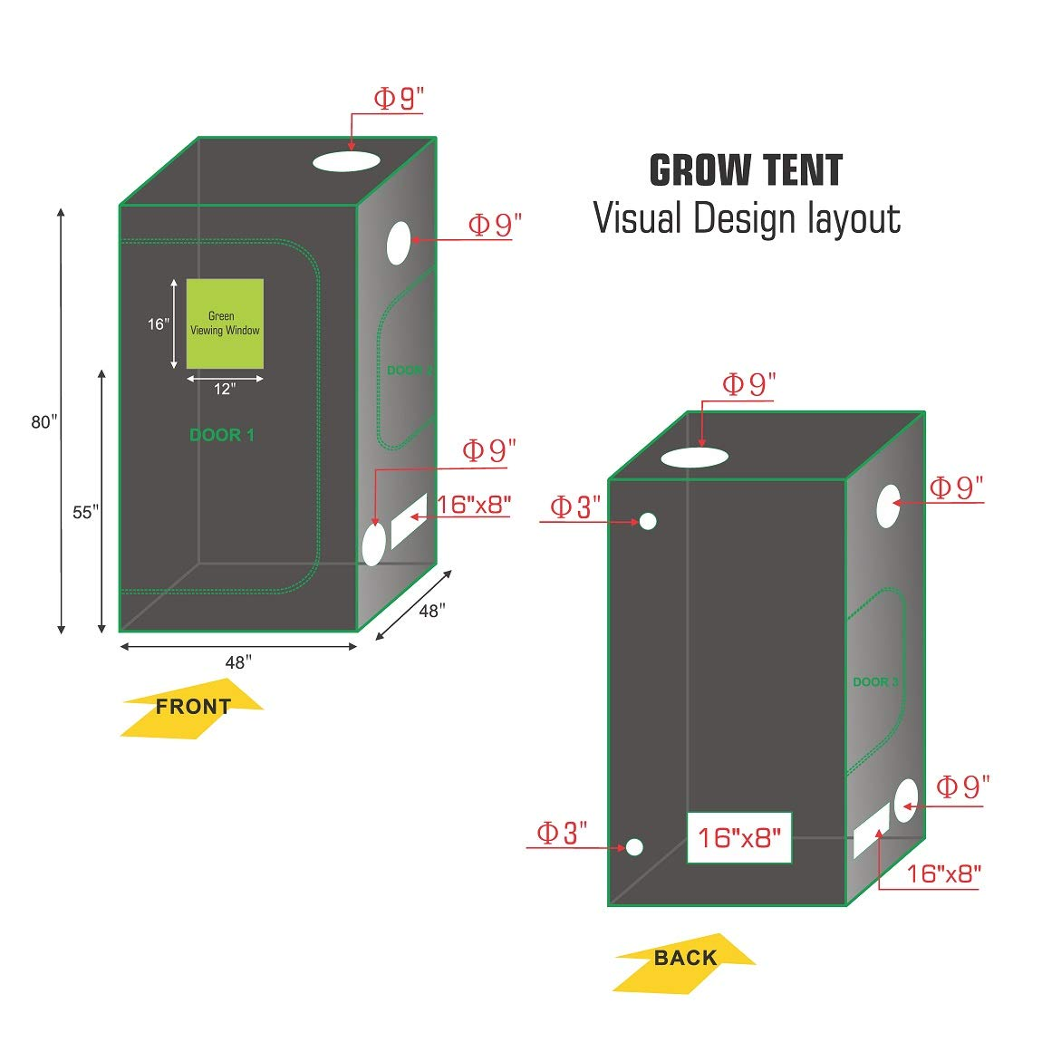 TopoLite 24 x24 x48 32 x32 X63 36 x20 x63 36 x36 x72 48 x24 x60 48 x24 x72 48 x48 x80 60 x60 x80 Grow Tent Reflective Mylar for Hydroponic Indoor Planting 48 x48 x80 Metal Corner Window