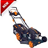 "BMC Lawn Racer 20"" Self Propelled Electric Push Button Start Lithium Ion Battery 5.5HP 4 Stroke Rotary Petrol Lawn Mower with 60L Grass Collection Bag, All Steel Deck, 4 in 1 Function Cut, Cut & Collect, Mulch, Side Discharge"
