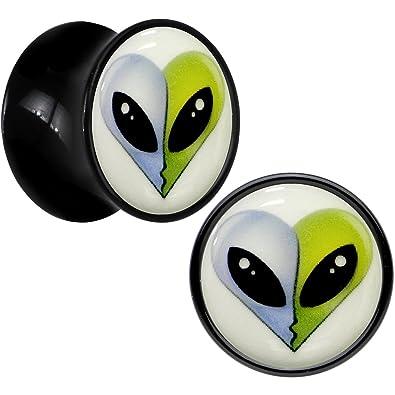 Negro Acrílico Beso Aliens brilla en la oscuridad Dilatador Par 13mm: Amazon.es: Joyería