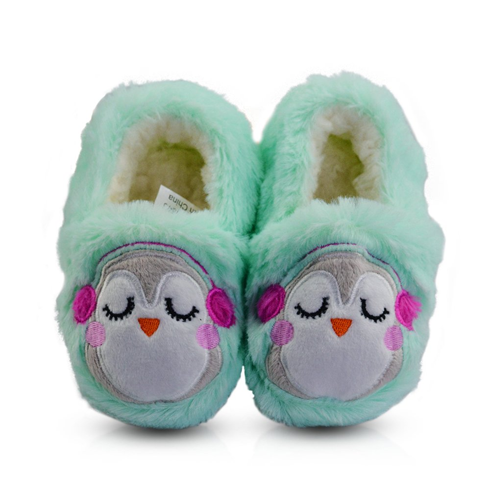 LA PLAGE Toddler Comfortable Anti-Slip Plush House Shoes with Hard Sole 9 US Light Green