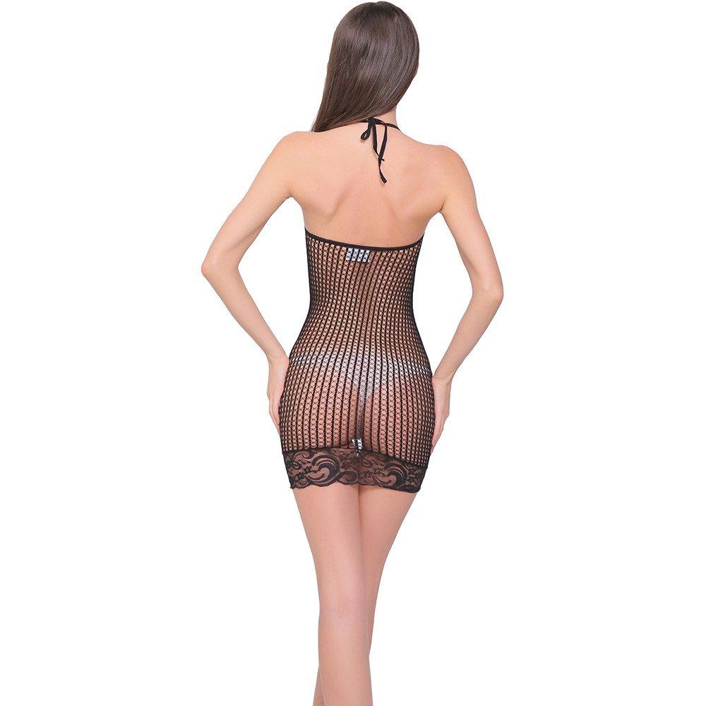 e6ad3015ac6 Amazon.com   Women Hollow Out Mesh Chemise Lingerie Dress