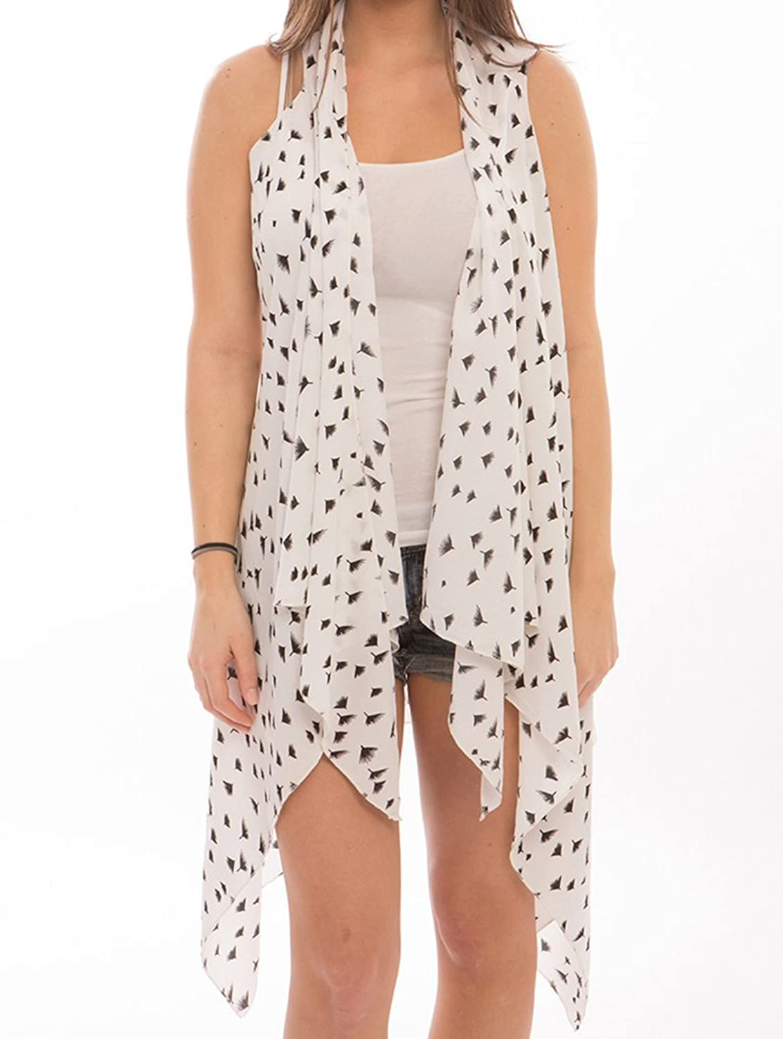 Parisian Chic Scarf Dandelion Flake Print Sheer Coverup Vest One Size Chiffon Swimwear White