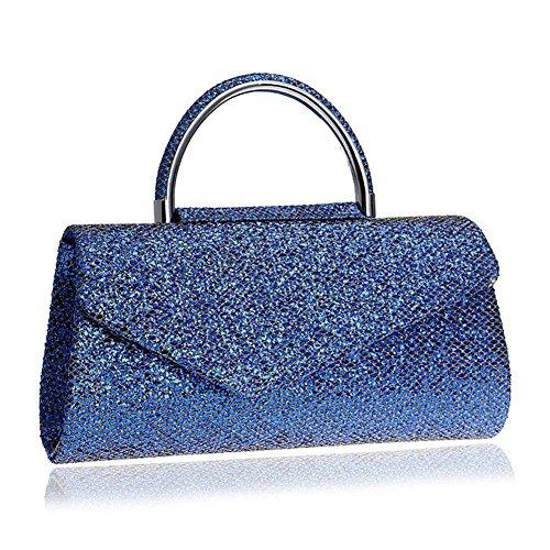 Orfila Pochette Femme Glitter en Dehors Robe Soirée Chaîne De Mariage Épaule Sac À Main des Sacs Blue