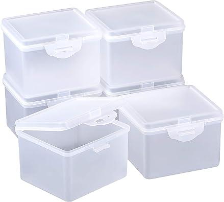 SATINIOR Caja Contenedor de Plástico Transparente con Tapa con Bisagra para Abalorios y Más: Amazon.es: Joyería