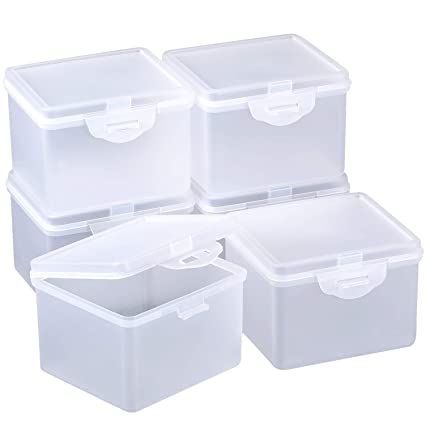 4d3099e537ed SATINIOR 6 Pack Clear Plastic Beads Storage Containers Box with Hinged Lid  for Beads and More (3.85 x 3.46 x 2.75 Inch)