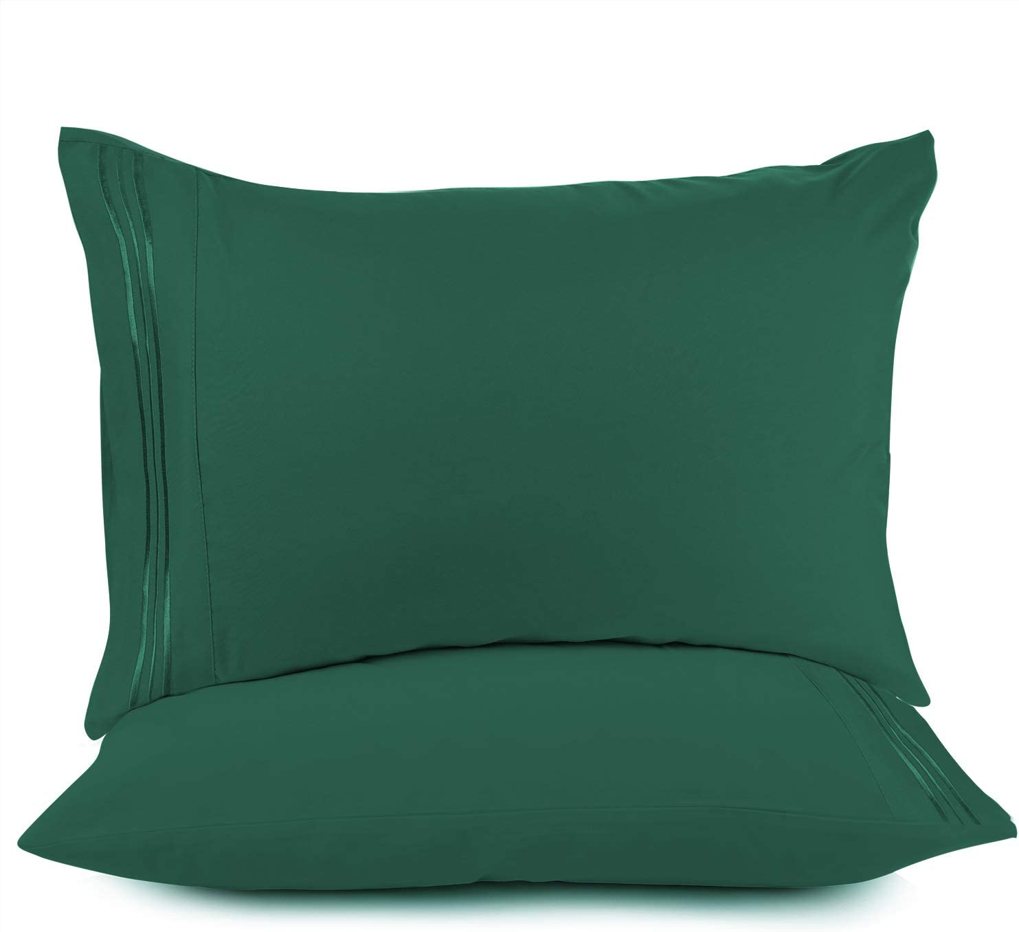 Nestl Bedding Soft Pillow Case Set of 2 - Double Brushed Microfiber Hypoallergenic Pillow Covers - 1800 Series Premium Bed Pillow Cases, King - Hunter Green
