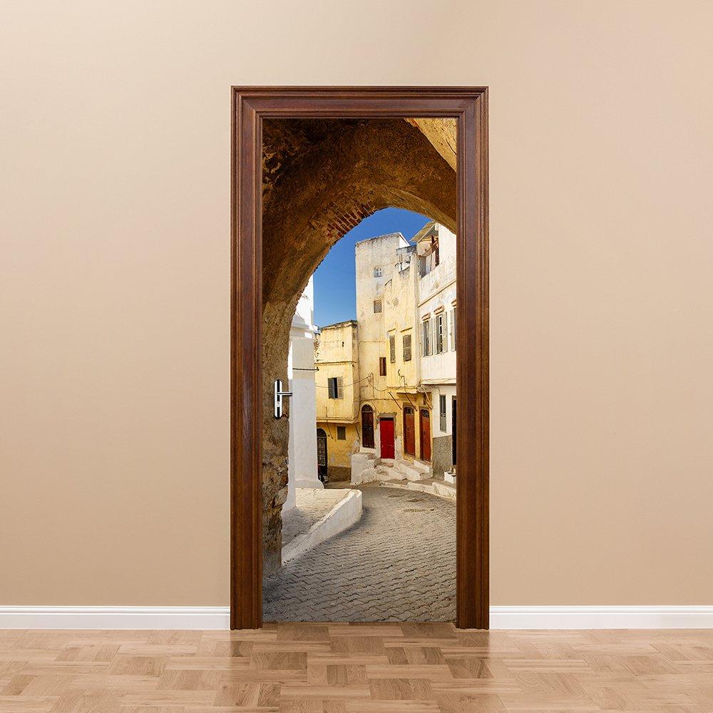 Yongqiang 3D Puerta Pegatinas Pared Pegatinas Salón Dormitorio Decoración Murales Papel Pegatinas Una Calle Estrecha Papel Tapiz Auto-Adhesivo Puede Ser ...